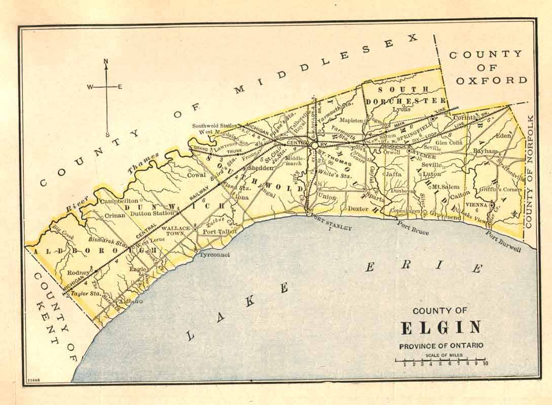 1885 Map of Elgin County